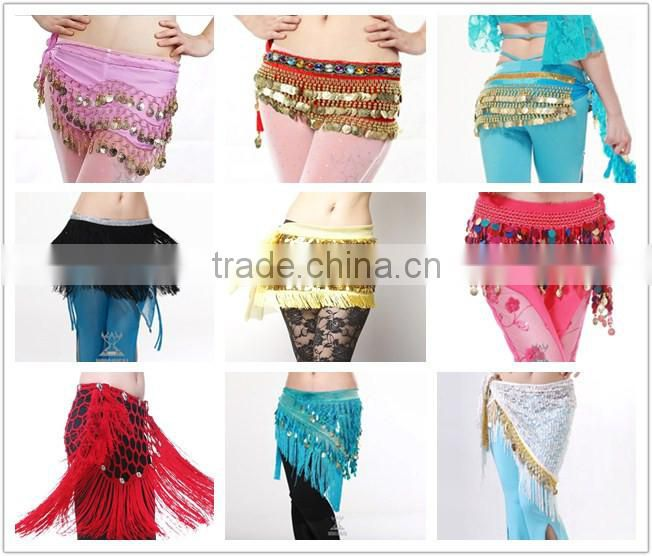 Velvet Belly Dance Hip scarf with Coins Belly Dance Coin Belts