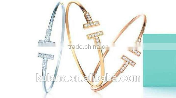 GSSL-2 Wholesale Fashion Hot Selling Brand Nails Crystal Rhodium Zircon Tennis Bracelets