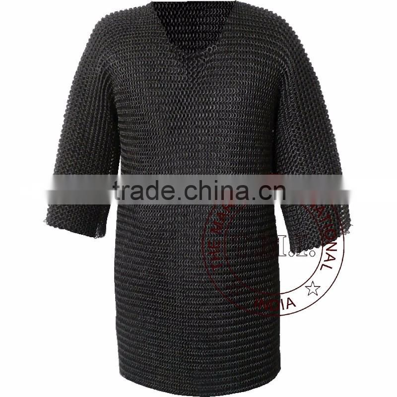 BUTTED CHAINMAIL SHIRT - RENAISSANCE HAUBERGEON BLACK - MEDIEVAL ARMOR COSTUME