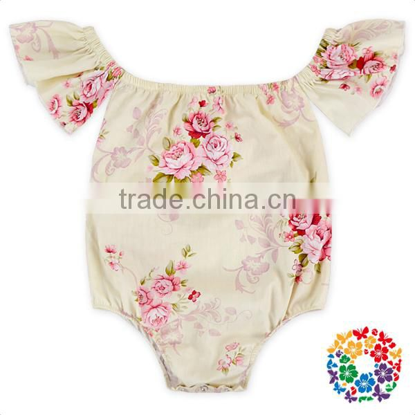 New Style Fashion Cotton Floral Baby Playsuit Off Shoulder Jumpsuit Boutique Baby Rompers 2017