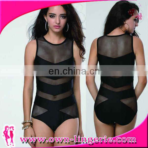 black see througn one piece swimsuit wholesale