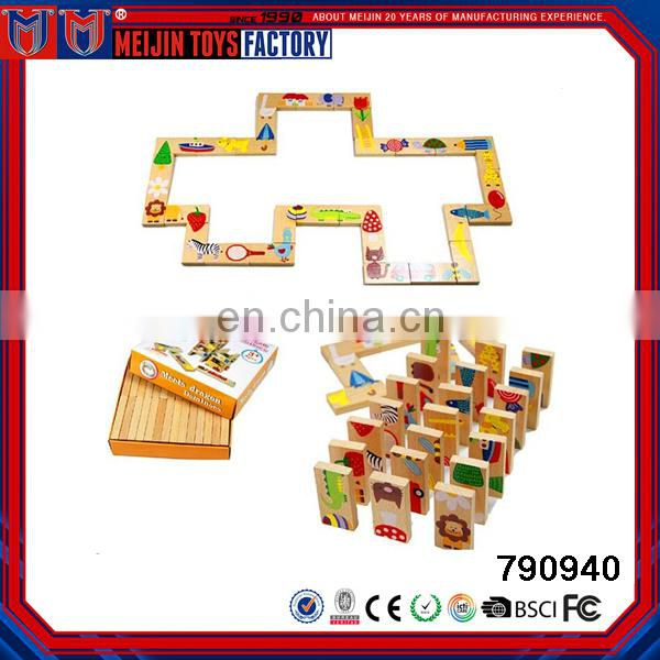 2017 Multi function cheap baby wooden domino educational toys