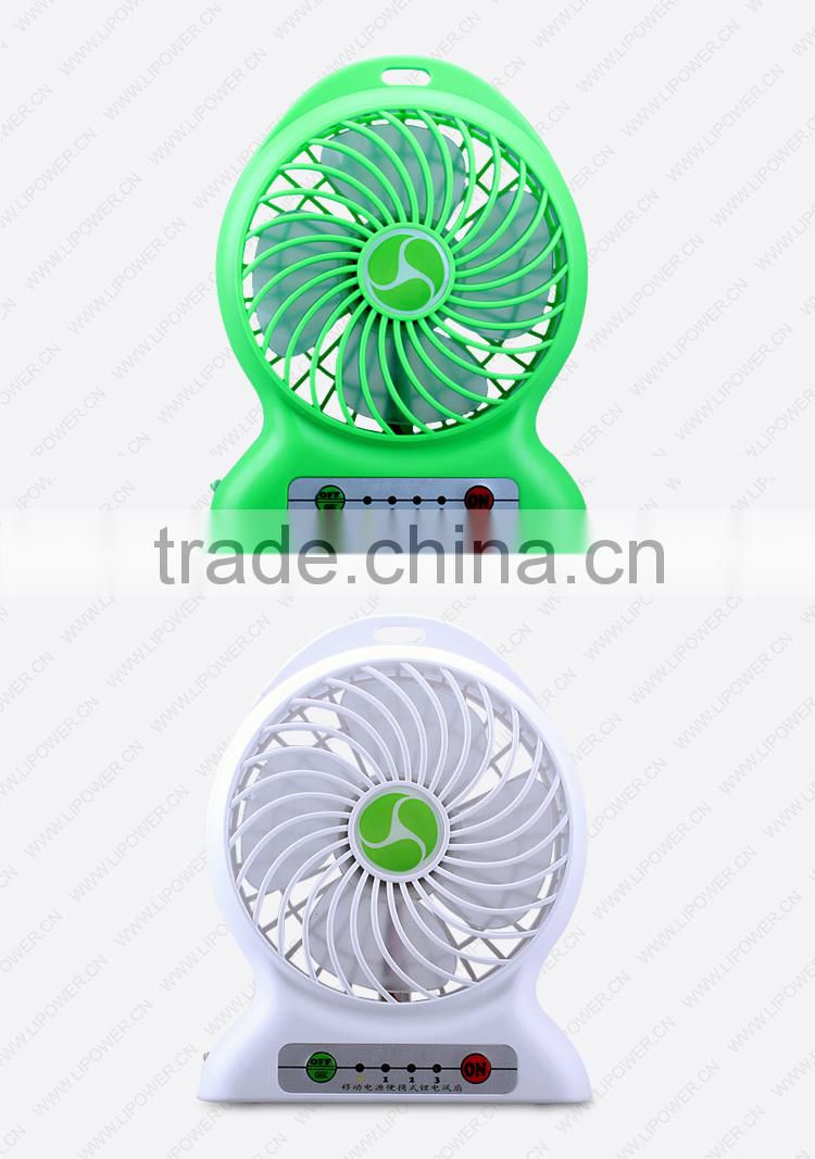 Rechargable super strong wind desk mini fan with power bank function adjustable speed and LED flashlight