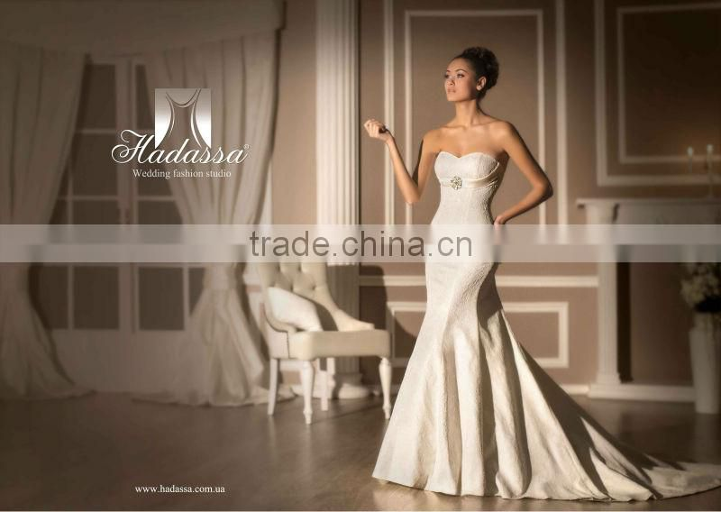Luxury French design Ball Gown Wedding Dress / Gown Beaded Lace High Quality Mesh Plisse