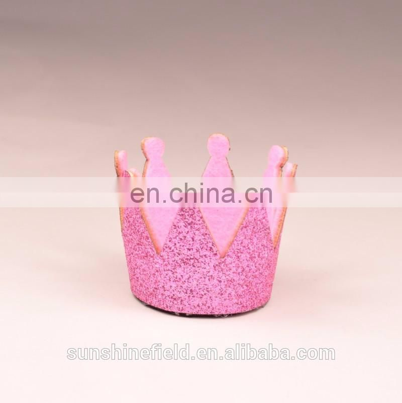 DIY Accessories Mini Felt Baby Birthday Crown Glitter Felt Crown First Birthday Hat
