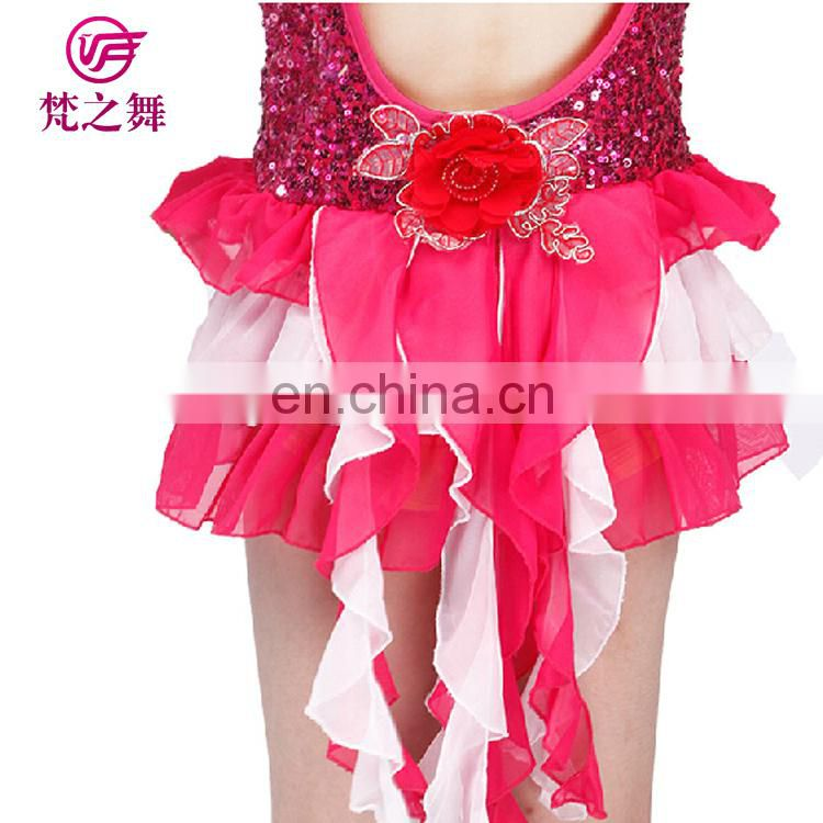 Nice design shiny sequins fabric children grils latin dance dancing clothes skirt with long tail ET-114
