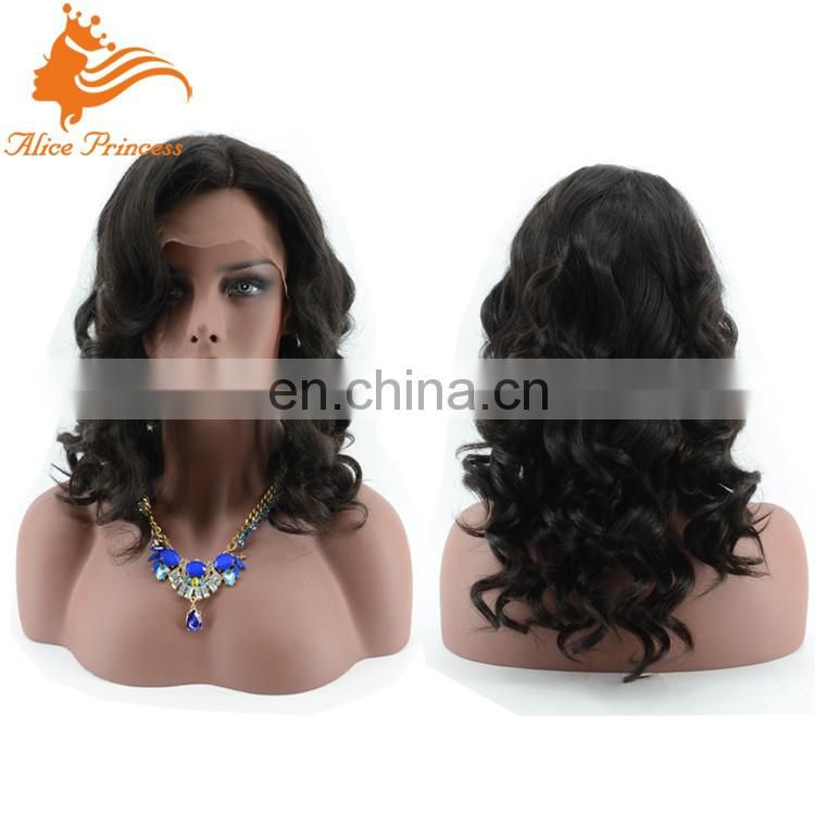 Glueless High Quality Natural Hairline Remy Human Hair Full Lace Wig With Baby Hair 200 Density