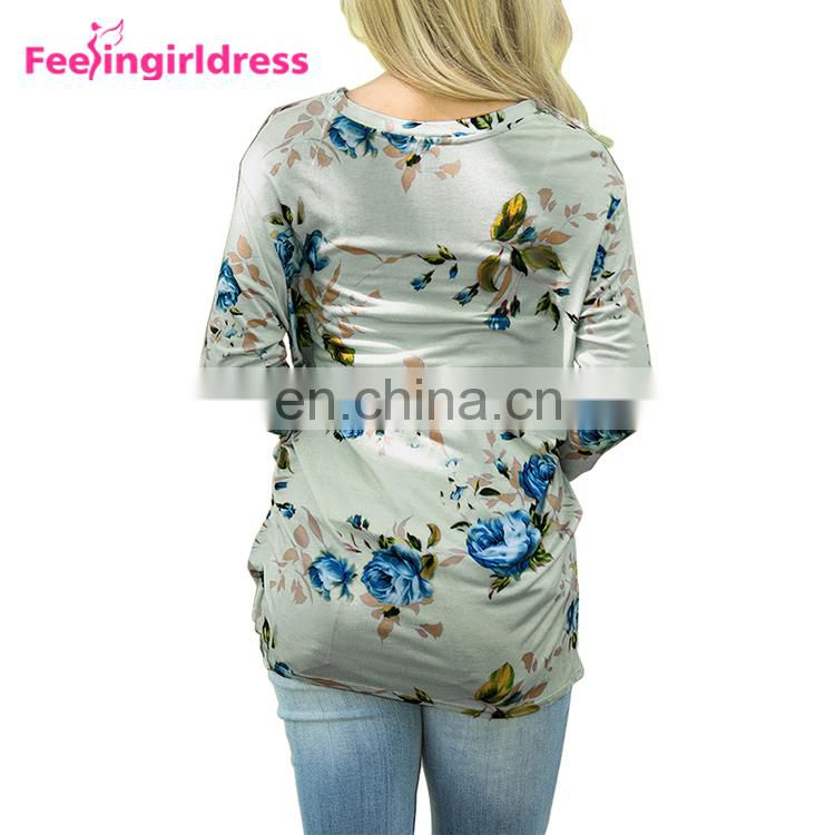 Latest Design Winter Print Floral Long Sleeve Blouse Tops Women