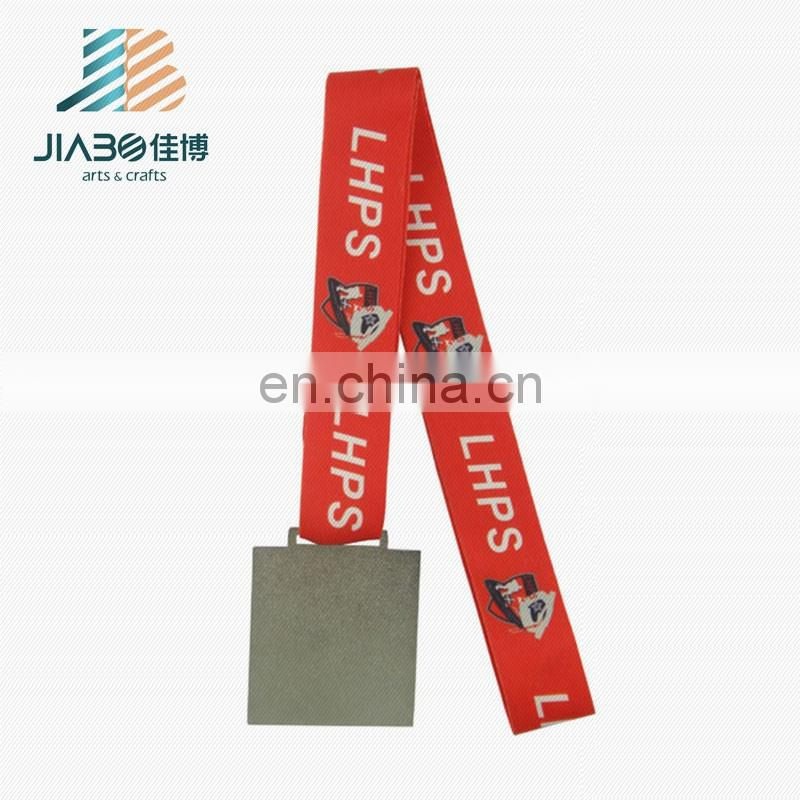superseptember square shape custom silver plating hockey medal with ribbon