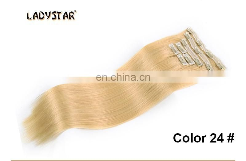 Clearance Ali Golden 8A Remy 7pcs/set thick Bundle Clip -in human hair extension,golden clip in hair