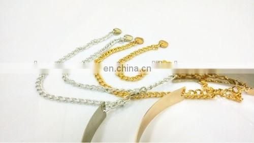 Women Gold/Silver Full Metallic Bling Mirror Plate Waist Metal Chain Belt