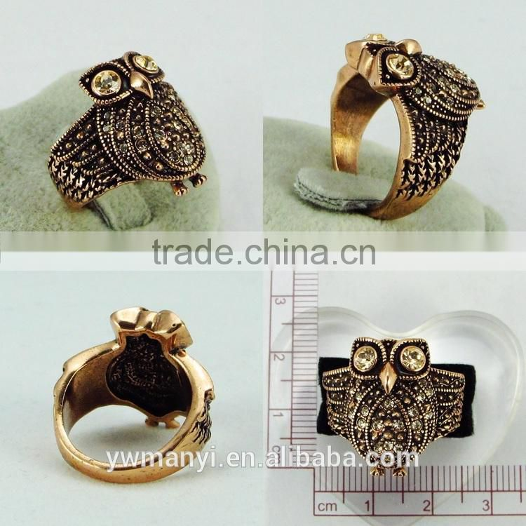 American diamond jewellery factory wholesale gemstone adorable animal owl finger ring R0106