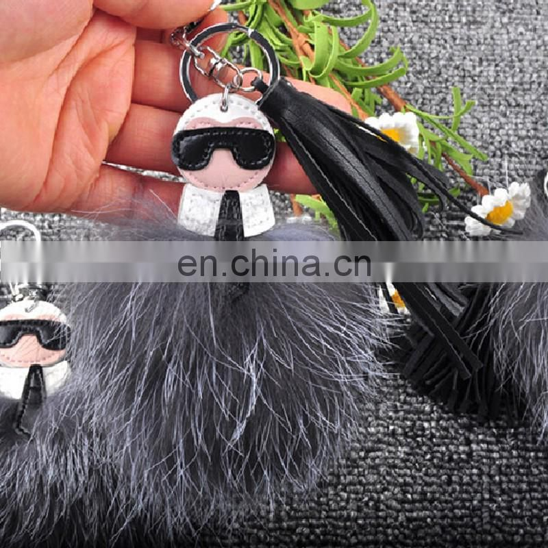 Genuine hand made silver fox fur monster keychain acessory gift