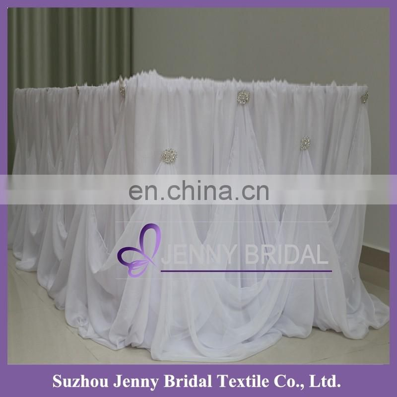 TC106B 2015 new style jenny bridal wedding center table chiffon table skirting designs