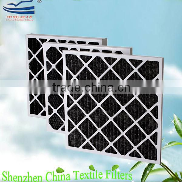 Pre pleat activated carbon fiber media with wire mesh