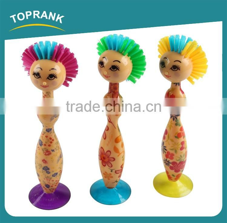 Toprank Good Feedback Eco-friendly Cartoon Lady Plastic Cup Pan Brush Kitchen Pan Washing Brush