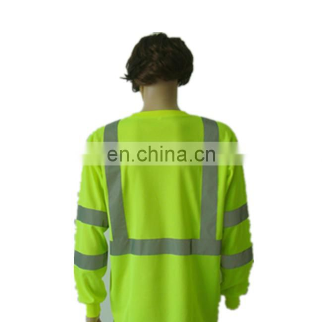High Grade Breathable safety reflective shirt 100% cotton reflective t-shirt