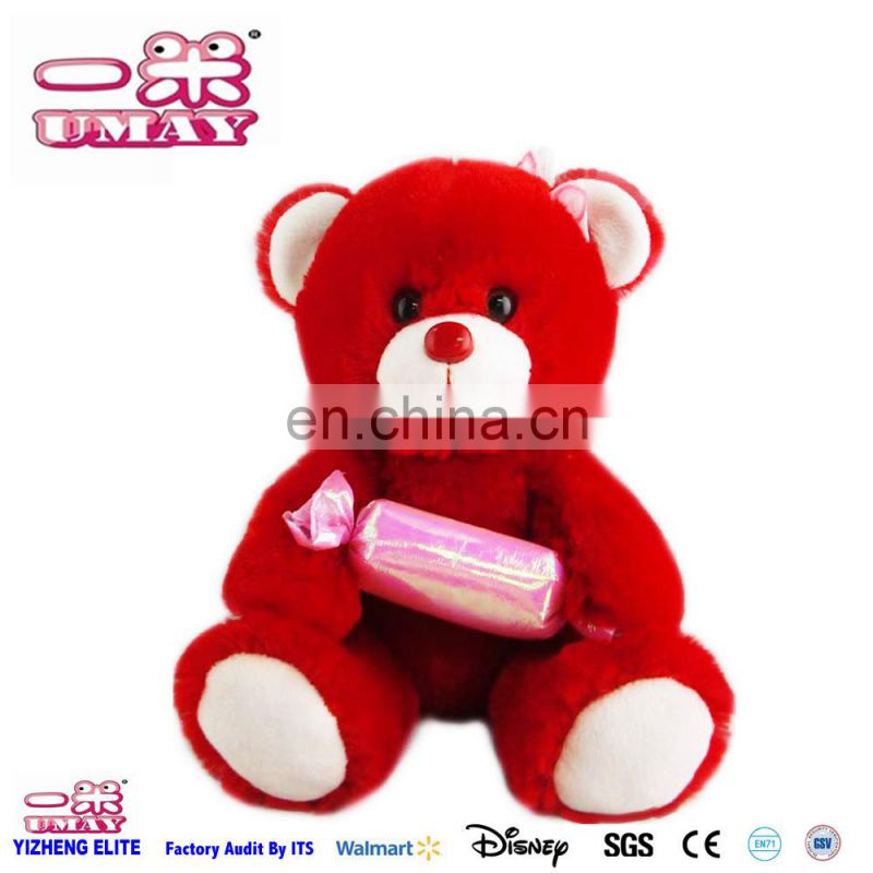 Red bear with candy plush 0500 candy toy Shenzhen toy factory