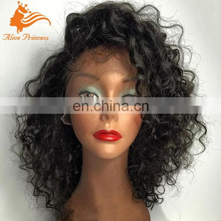 Best Fashion Style No Shedding Brazilian Virgin Human Hair Lace Front Wig Curly Short Braided Wigs