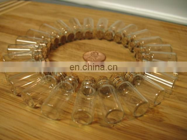 Little corked clear glass bottles