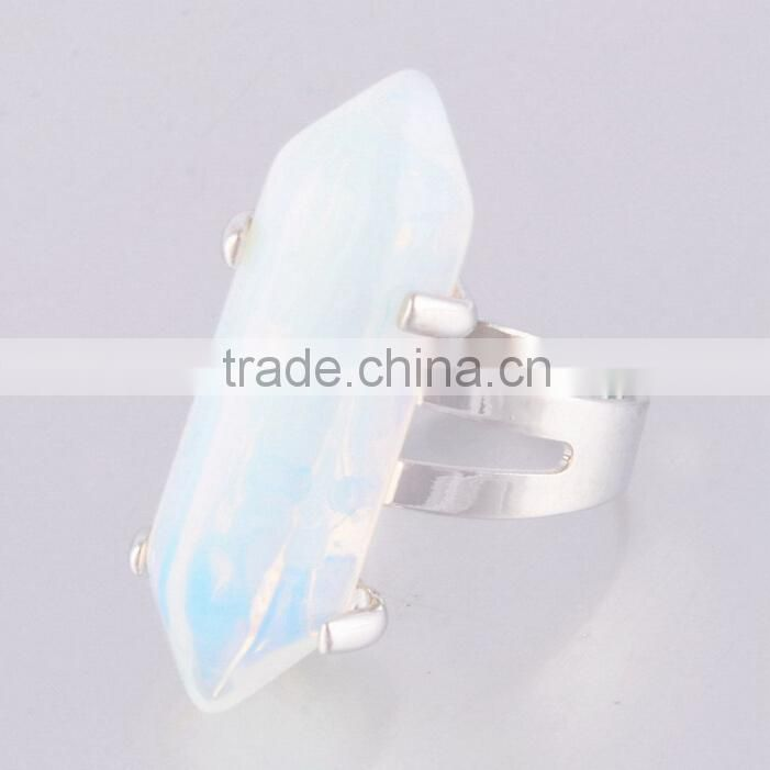 Unique shape white fire opal alloy rings