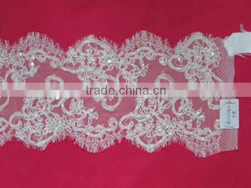 Beaded Chantilly Nylon French Border Lace Trimming