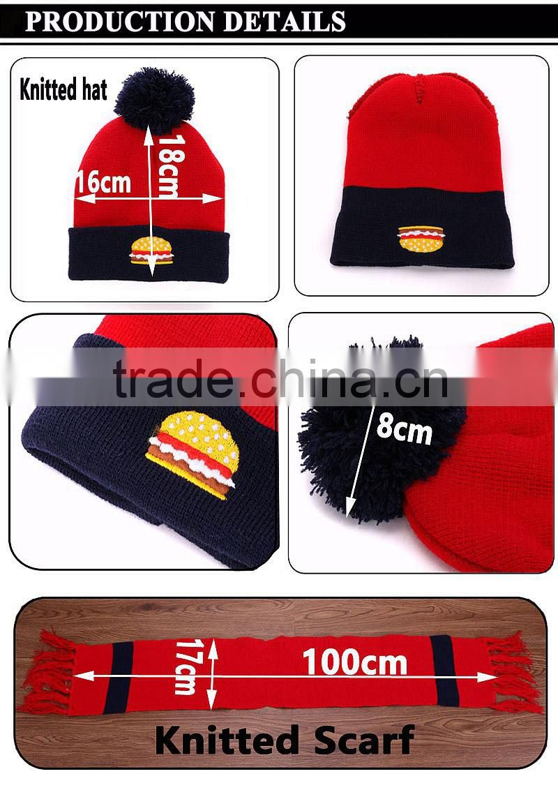 8f4e954a9 Wholesale customized funny embroidery hamburg Red 3pcs set kids ...