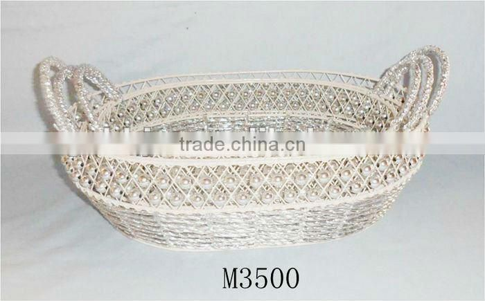 Set of Three Rectangle Iron Silver string storage basket for party supply,wedding favor