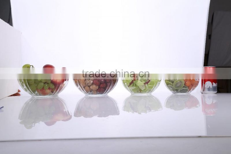 5 Pieces Engraving Large Cheap Clear Decorative Glass Salad Bowls