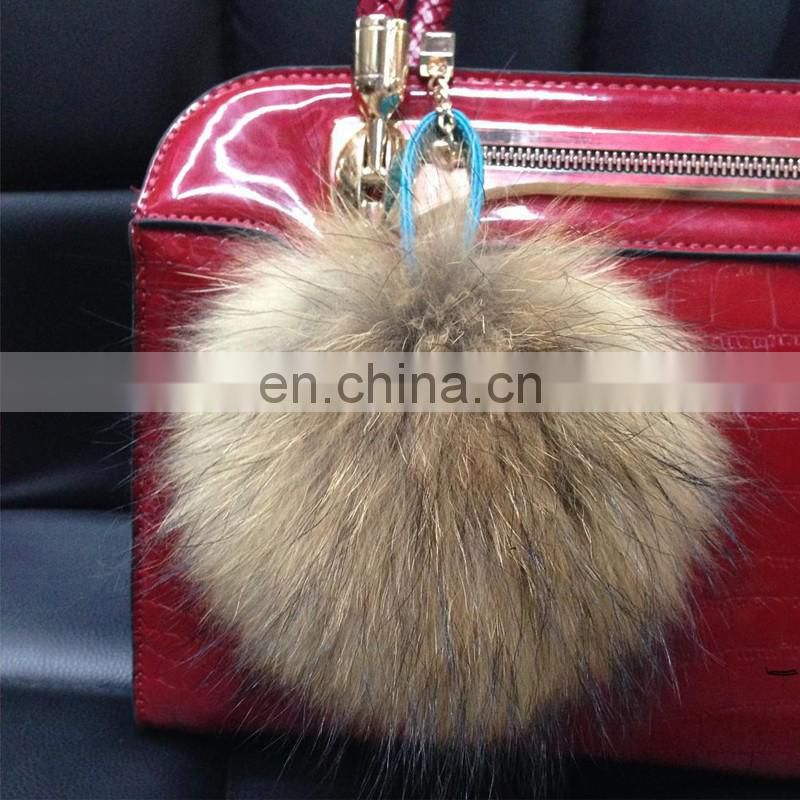 Natural color raccoon fur ball accessory fluffy full raccoon fur bag charm