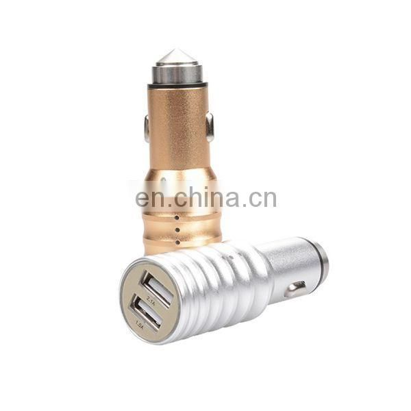 Newest portable travel safty hammer 5v, 3.1A quick usb charging car charger with purifier function