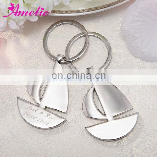 AR17 Wholesale Metal Sail New Design Silver Color sail boat keychain
