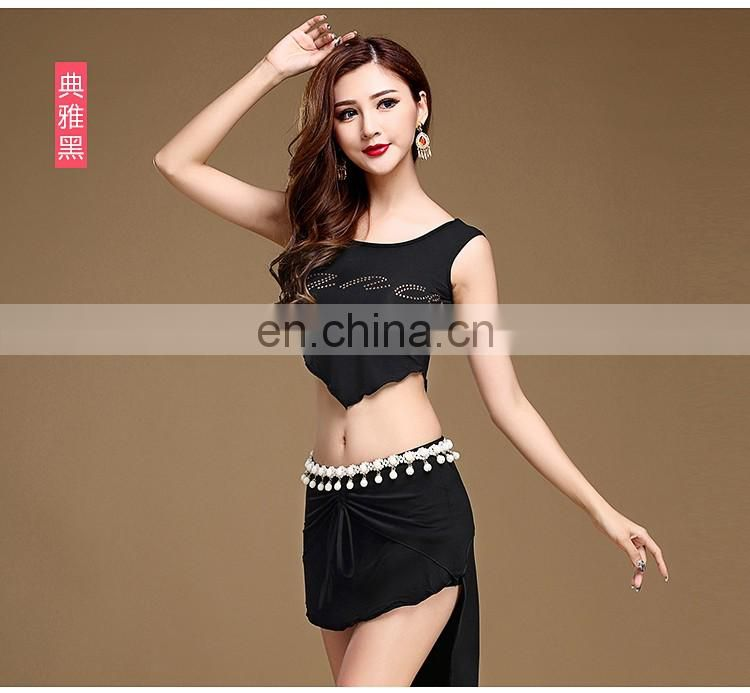 S-3095 High quality modal hot drill special designed sexy belly dance top clothes