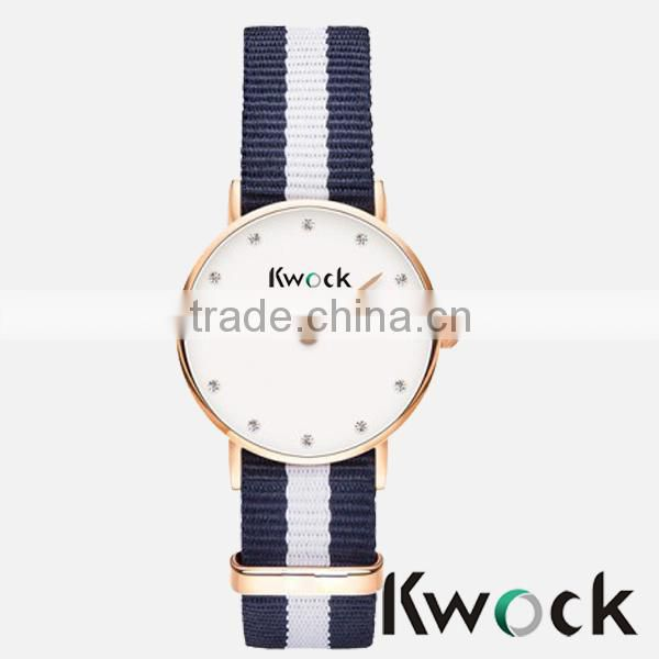 Super thin Ladies watch top brand with rhinestones vogue women watch 2014 Sport Women Watch with fabrice nylon strap