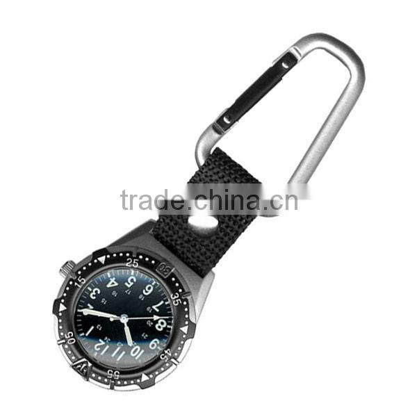 American waterproof military kids scouts camped outdoor carabiner compass watch with led light