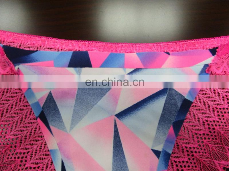 Ditigal print with lace wholesale mature woman underwear