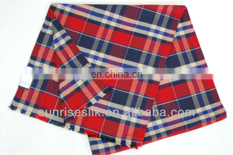 High quality hot sale checked oblong thick cotton scarf