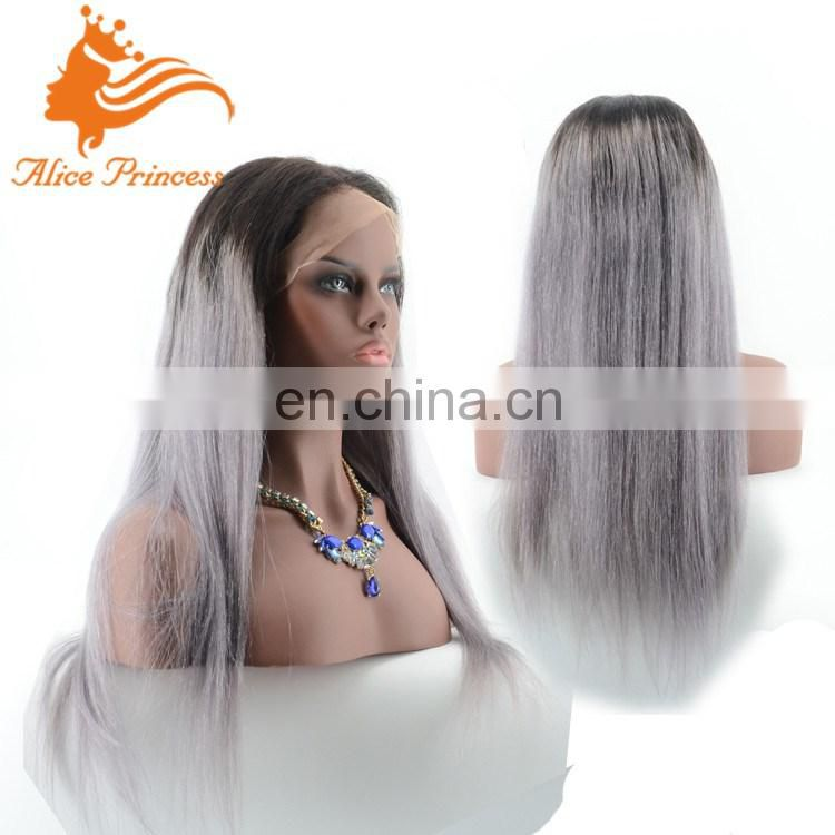 8A Hand Tied Hot Sale Two Tone Straight Virgin Human Hair Silver White Lace Wig