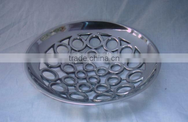 round brass antique mirror glass tray