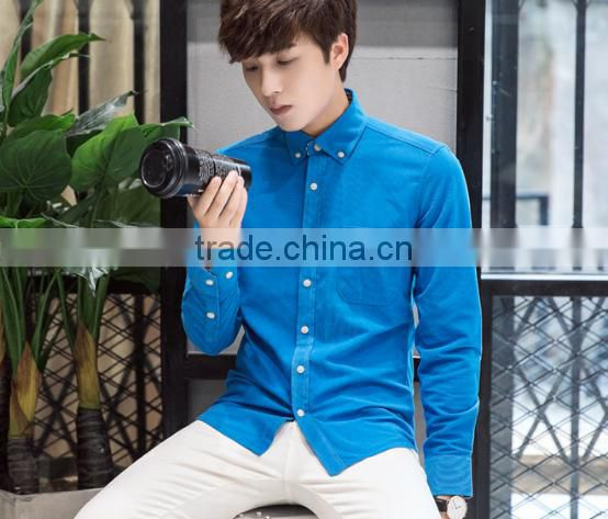 2016 Autumn New Arrival 100% polyester corduroy Fashion Long sleeve mens dress shirts