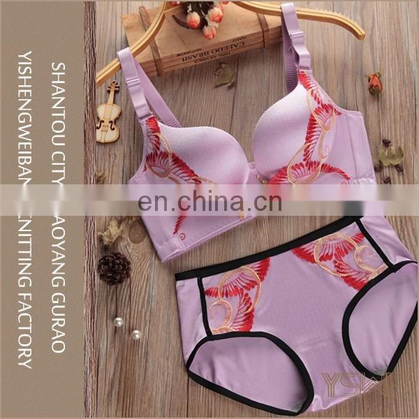 Custom made size and logo comfortable fat women sexy bra panty set