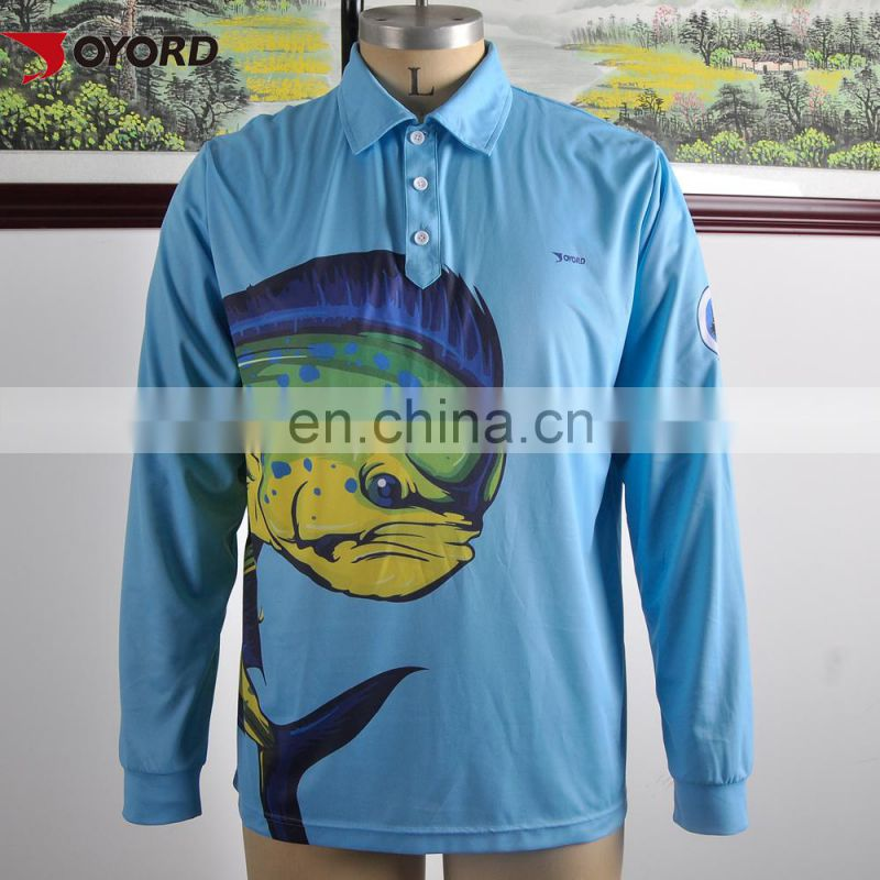 Customized fishing shirt, sublimated fishing shirts, polyester fishing jersey