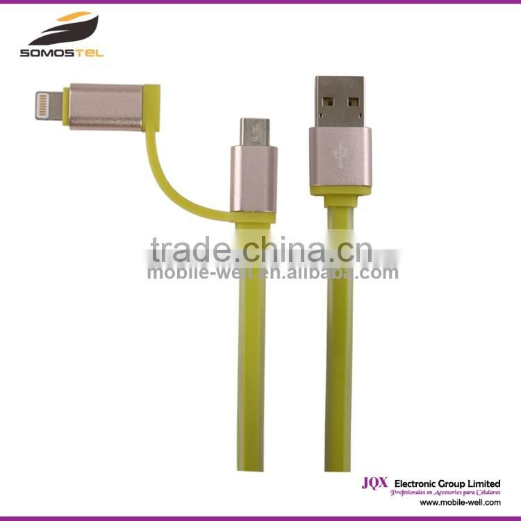 [Somostel] New arrival aluminium alloy 2 in 1 USB data cable for apple iphone 6s usb otg cable / braided usb charging