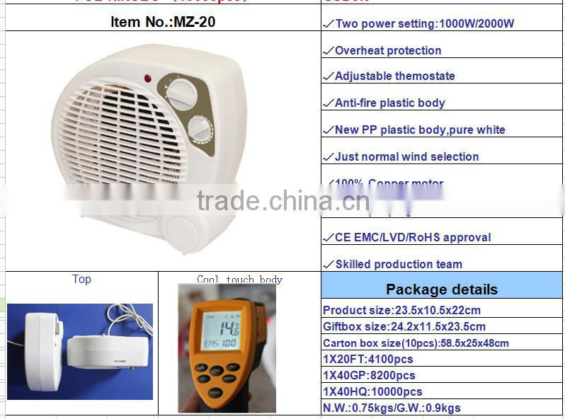 hot selling 2000W fan heater electric mini fan heater 2KW electrical room heater/industrial fan heater/heater fan