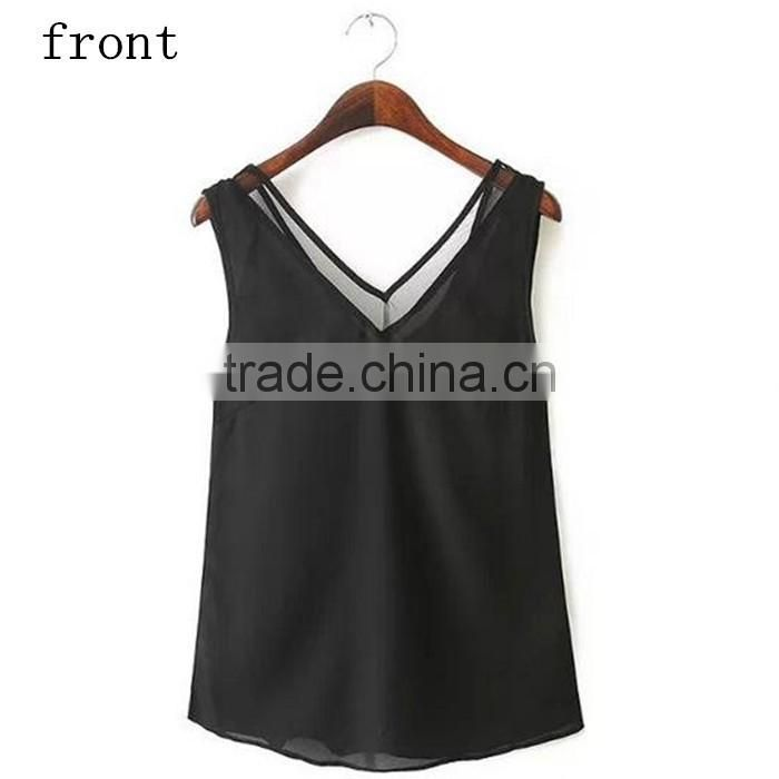 2016 Summer Style Hollow Out Sleeveless Design Tank Top for Women Chiffon Tank Tops