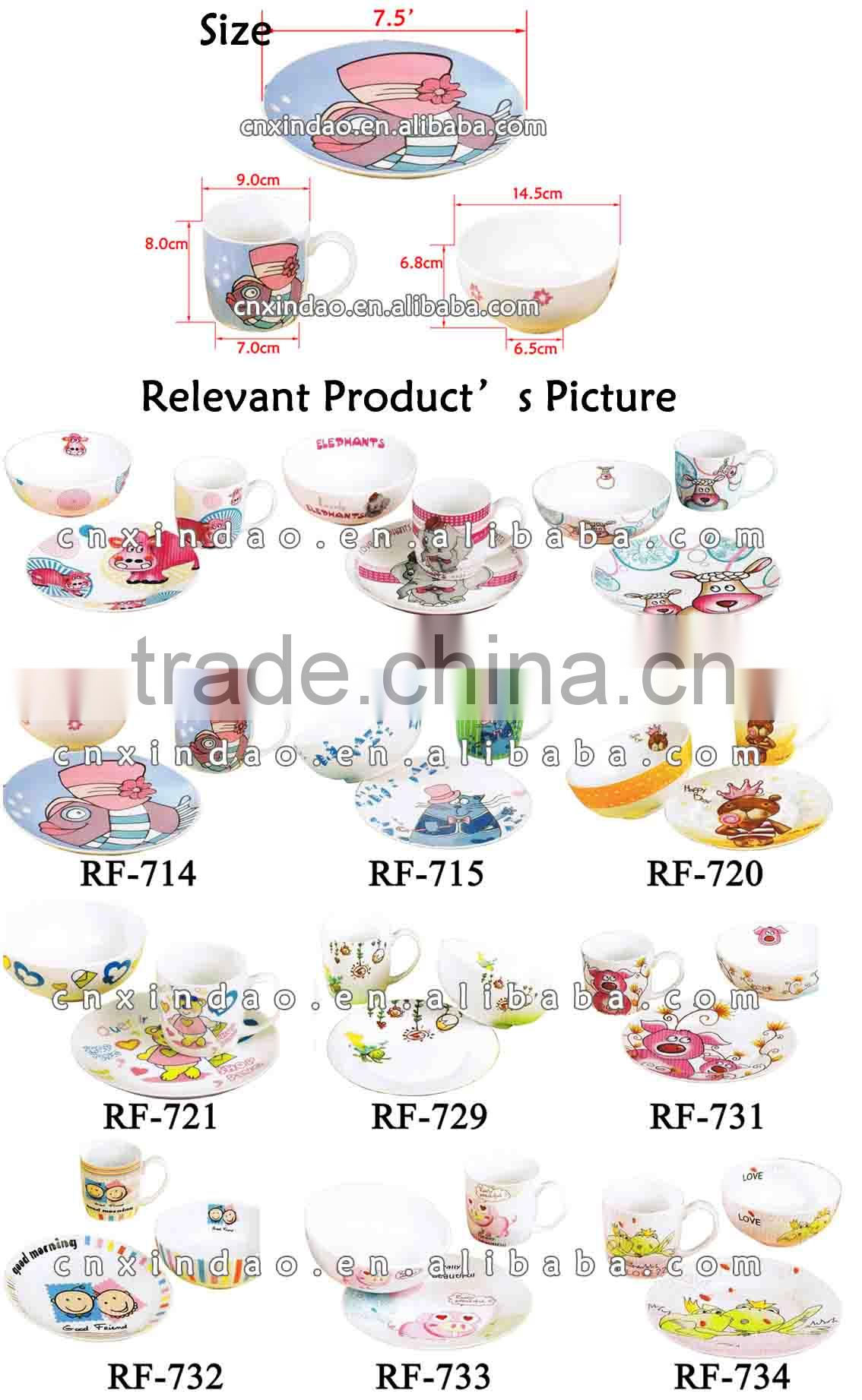 Wholesale 3pcs White Porcelain Kids Dinnerware Set for Promotion Gift