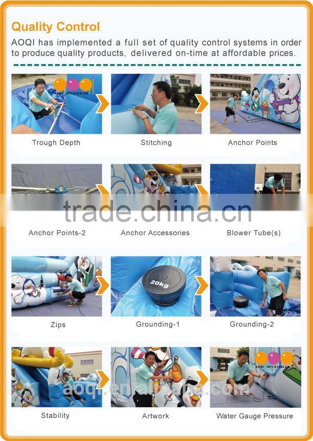 2015 AOQI newest design safari inflatable water slide with pool with free EN14960 certificate