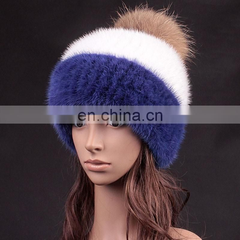 Manufactor wholesale thick mink fur weaven hat with large fox fur ball