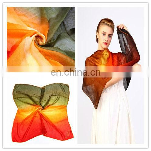 100% ladies pashmina custom square wool grandient square Scarf and shawl for winter