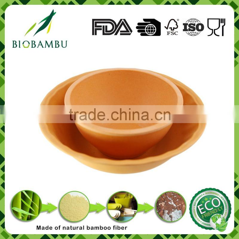 Top selling good design bamboo fiber dinnerware bowls set/salad bowl